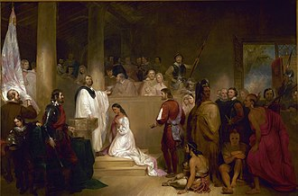 Native American cultures in the United States - Baptism of Pocahontas was painted in 1840. John Gadsby Chapman depicts Pocahontas, wearing white, being baptized Rebecca by Anglican minister Alexander Whiteaker in Jamestown, Virginia; this event is believed to have taken place in 1613 or 1614.