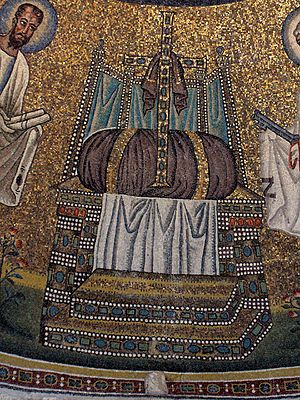 Hetoimasia - The empty throne with cushion, crux gemmata and cloth, flanked by Saints Peter and Paul. Arian Baptistery, Ravenna, early 6th century.