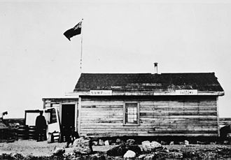 "Cape Fullerton - Barracks at Cape Fullerton, Nunavut, Canada, 1904. Photo by J. D. Moodie. The original notes with this photograph added ""Officers' Quarters only built at that time and occupied by Detachment, 1904."""