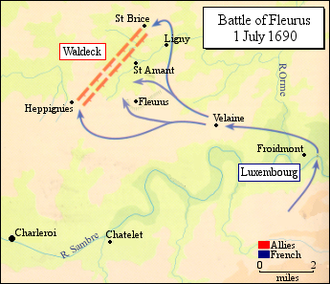 Battle of Fleurus (1690) - Luxembourg divides his forces and attacks Waldeck's army on both flanks.