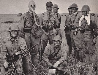 Soviet–Japanese border conflicts - Japanese soldiers pose with captured Soviet equipment during the Battle of Khalkhin Gol.