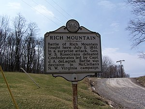 Battle of Rich Mountain - Image: Battle of Rich Mountain Historical Marker
