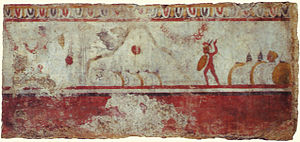 Battle of the Caudine Forks - A Lucanian tomb painting of the Battle of the Caudine Forks
