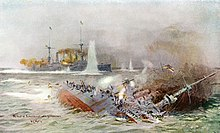 Two battling ships, with one sinking