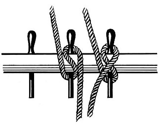 Belaying pin - Properly securing a line to a belaying pin starts by leading the line under and behind the base of the pin to begin the Figure-8 pattern