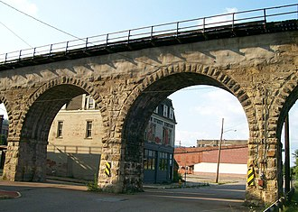 National Register of Historic Places listings in Belmont County, Ohio - Image: Bellaire viaduct 02
