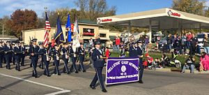Junior Reserve Officers' Training Corps - Cadets from Bellevue East High School's AFJROTC marching in the Bellevue, Nebraska 2016 Veterans Day Parade
