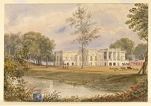 Belvedere Estate - Illustration of Belvedere House, 1838, by the Anglo-Indian merchant and artist William Prinsep. The estate belonged to the family, who sold it to the East India Company in 1854.
