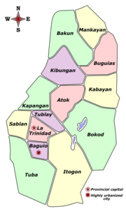 Political map of Benguet