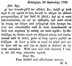 Benjamin Franklin's phonetic alphabet - Sample text in Franklin's phonetic alphabet from a letter to Franklin.