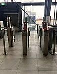 Bergen Airport, Flesland, Norway (Bergen lufthavn). Boarding card registration machines at flight gate. 2018-03-23 A.jpg