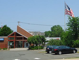 Berkeley Heights, New Jersey - A giant flag flies over the intersection of Plainfield and Springfield avenues