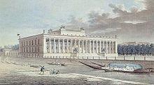 Altes Museum in Berlin, kolorierte Radierung von Friedrich Alexander Thiele, 1830 (Quelle: Wikimedia)