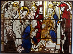 Bernard at the Lateran Council in Rome, Cloister of the Cistercian Monastery, Altenberg, probably Master of St. Severin, Cologne, 1505-1520, stained glass - Museum Shnütgen - Cologne, Germany - DSC09748.jpg