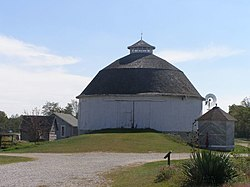 The Bert Leedy Round Barn, a historic site in the township