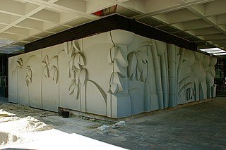 Leafwork with bamboo trunks
