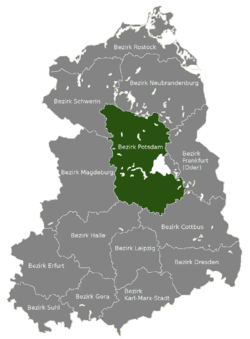 Location of Bezirk Potsdam within the German Democratic Republic