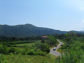 Bhagamandala - View of Thavooru Gudde (Mt.Thavooru) and Hotel Mayura Kauvery from the winding road above
