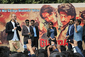 Gunday - Bharat Jain interacting with the cast at a promotional event for the film.
