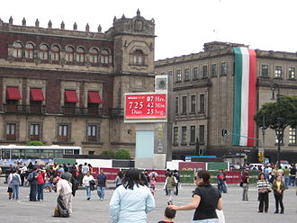 Celebration of Mexican political anniversaries in 2010 - The first countdown clock on the Zocalo. The current one hangs over where 20 de Noviembre Street meets the Zocalo.