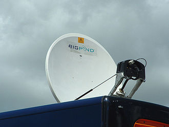 Satellite Internet access - A foldable Bigpond satellite Internet dish