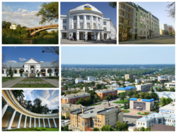 Collage of the views of Bila Tserkva, Top left: A view of Ros River and Tsentralnyy Bridge, Top middle: Bila Tserkva National Agrarian University, Top right: The Heroes Hundreds of Heaven Street, Bottom upper left: Kurbas Market Mall, Bottom lower left: Colonnade Echo, Bottom right: Panoramic view of Bila Tserkva with Torhova Square