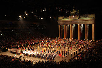 Military band - A massed group of military bands from several countries, at the 2011 Berlin Military Tattoo