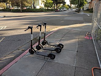 Energy efficiency in transport - Electric kick scooters, part of a scooter-sharing system, in San Jose, California.