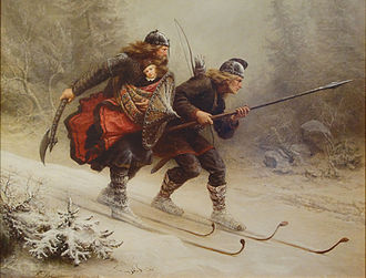 Birkebeiner - Skiing Birchlegs Crossing the Mountain with the Royal Child, painted by Knud Bergslien. Painting located at The Ski Museum. Holmenkollen, Oslo, Norway.