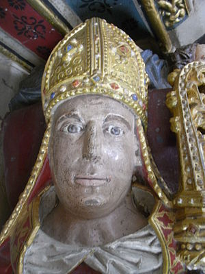 Hugh Oldham - Effigy of Hugh Oldham (d.1519), Bishop of Exeter, Oldham Chapel, south aisle, Exeter Cathedral