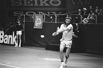 Björn Borg - Björn Borg playing a double-handed backhand shot at the 1979 ABN World Tennis Tournament