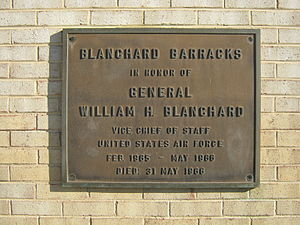 William H. Blanchard - Plaque on Blanchard Barracks at Bolling Air Force Base