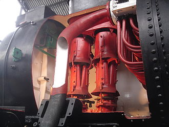 Kylchap - Double Kylchap exhaust of the Spanish RENFE 141 F 2416 (smokebox cut open), shown in the Delicias Museum in Madrid.