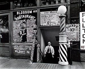 Berenice Abbott - Bowery restaurant photograph for Changing New York, 1935.
