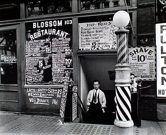 Berenice Abbott - Bowery restaurant photograph for Changing New York, 1935.