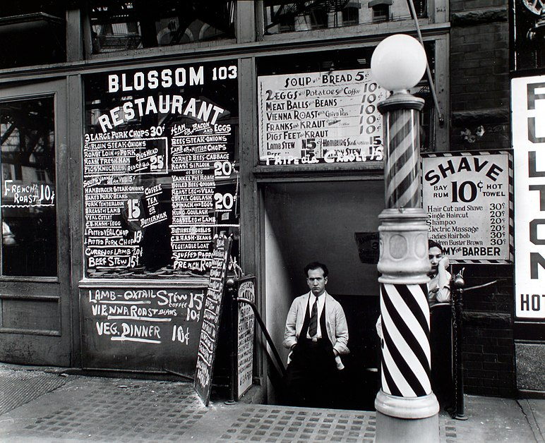 File:Blossom Restaurant; 103 Bowery by Berenice Abbott in 1935.jpg