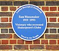 Blue Plaque for Sam Wanamaker, Shakespeare's Globe, London SE1 - geograph.org.uk - 1095599.jpg