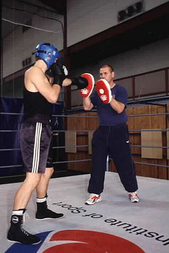 Paul Miller (boxer) - AIS Head Boxing Coach Bodo Andreass sparring with Paul Miller
