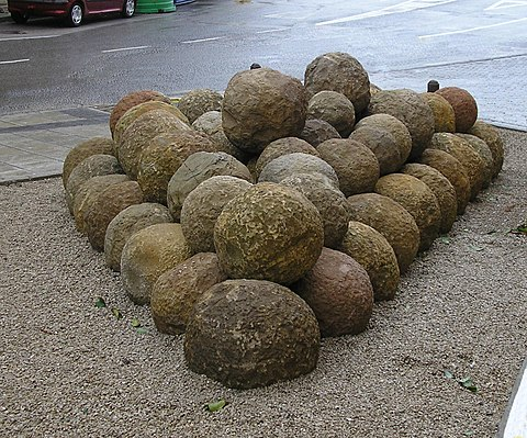 bolanos, stone balls used during the 1342 siege, now in the archaeological park of the sea walls Bolanos.jpg