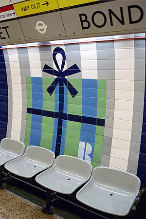 Bond Street tube station - Image: Bond St Tilework fx wb