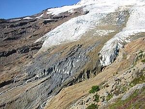 Boulder Glacier (Washington) - Stagnant, rock-debris-covered glacier terminus in 2004