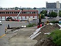 Box District station construction from Broadway bridge, July 2015.JPG