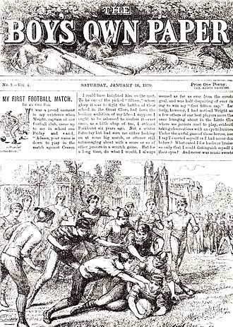 """Talbot Baines Reed - Issue No. 1 of The Boy's Own Paper, 18 January 1879, with Reed's short story """"My First Football Match"""""""