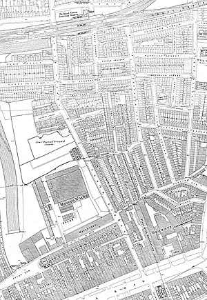 Brady Street - Brady Street on an 1870s Ordnance Survey map when it was still known as North Street.