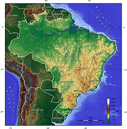 Topographic map of Brazil