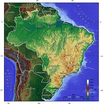 Brazilian Highlands - Image: Brazil topo