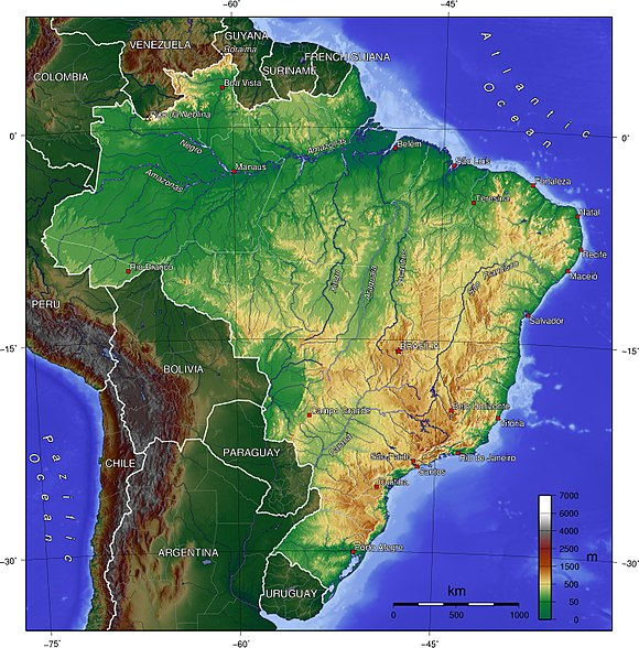 Topographic map of Brazil Brazil topo.jpg