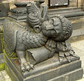 Bremen Cathedral dragon & lion below Charlemagne 2.jpg