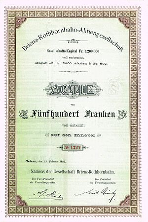 Brienz Rothorn Railway - Share of the Brienz-Rothornbahn-AG, issued 22. February 1892