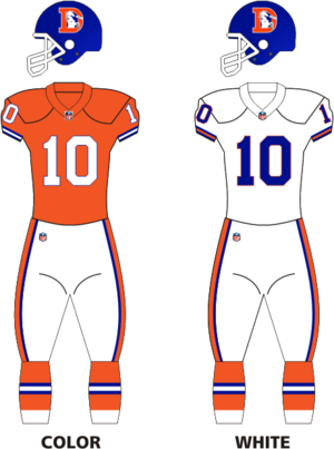 1983 Denver Broncos season - Image: Broncos 1968 96 uniforms